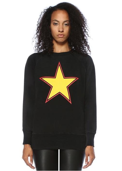 Siyah Reglan Kollu Yıldız Baskılı Sweatshirt