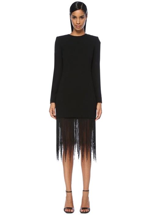 Siyah Püsküllü Midi Yün Krep Kokteyl Elbise