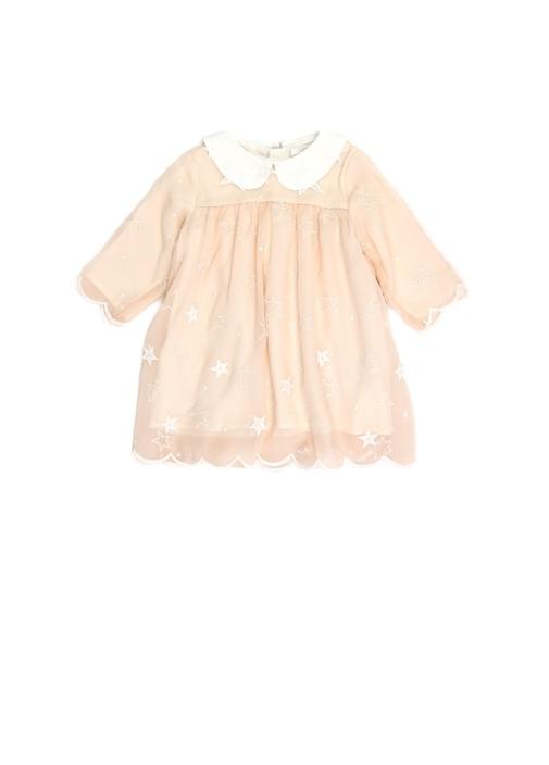 Pudra Bebe Yaka Nakışlı Kız Bebek İpek Elbise
