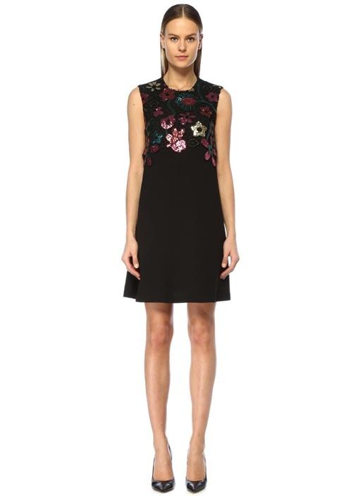 Siyah Çiçek İşlemeli Dantel Detaylı Mini Elbise
