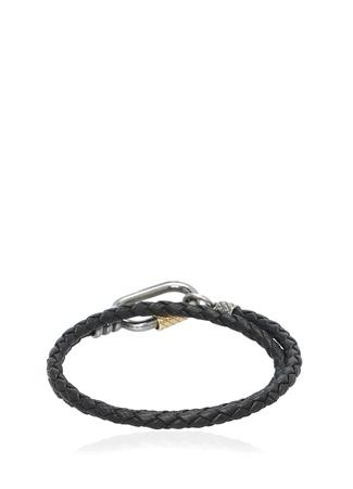Bottega Veneta Erkek Kahverengi Örgü Dokulu Bilezik Siyah Ürün Resmi