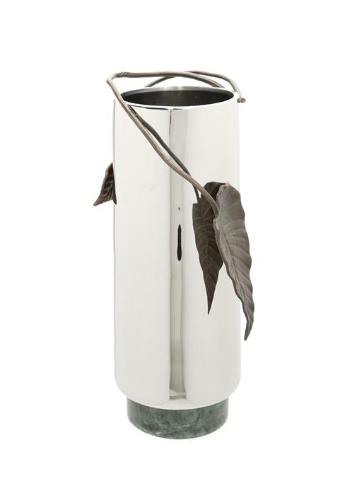 Silver Yaprak Motifli Çelik Vazo