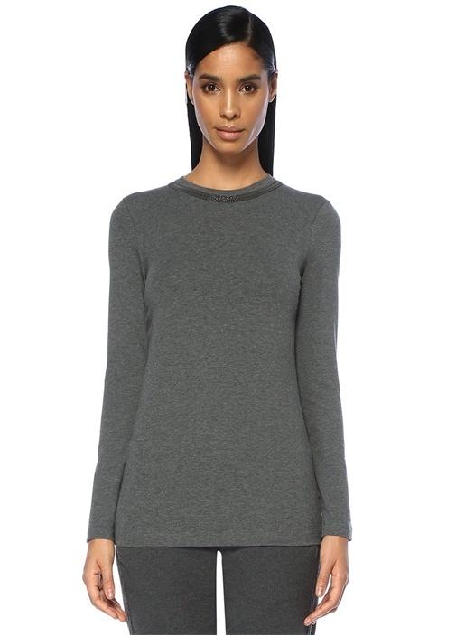Gri Melanj Yakası Zincirli Uzun Kollu T-shirt