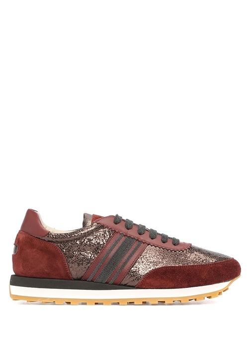 Bordo Bronz Taş İşlemeli Kadın Deri Sneaker