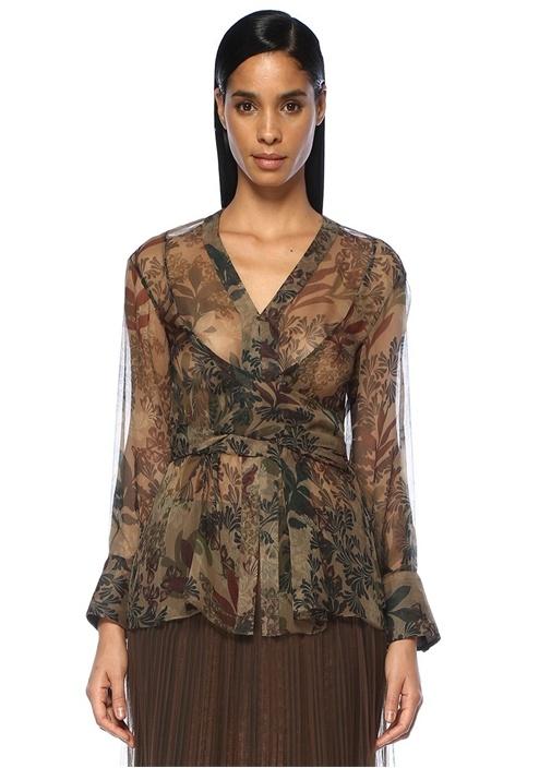 Kahverengi Çiçekli Bağcıklı Şifon İpek Bluz