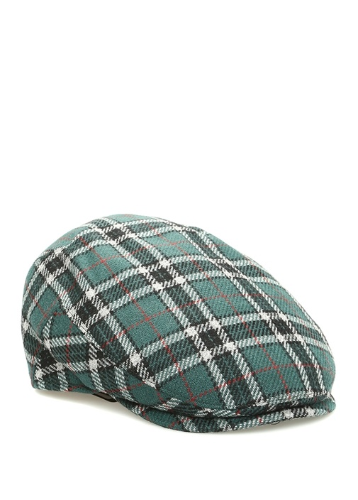Yeşil Ekose Desenli Erkek Yün Kaşmir Şapka