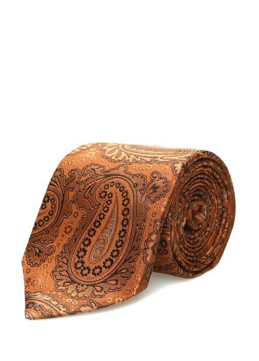 Kahverengi Şal Desenli Erkek İpek Kravat