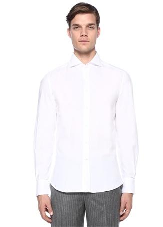 Brunello Cucinelli Erkek Slim Fit Beyaz Kesik Yaka Gömlek L Ürün Resmi