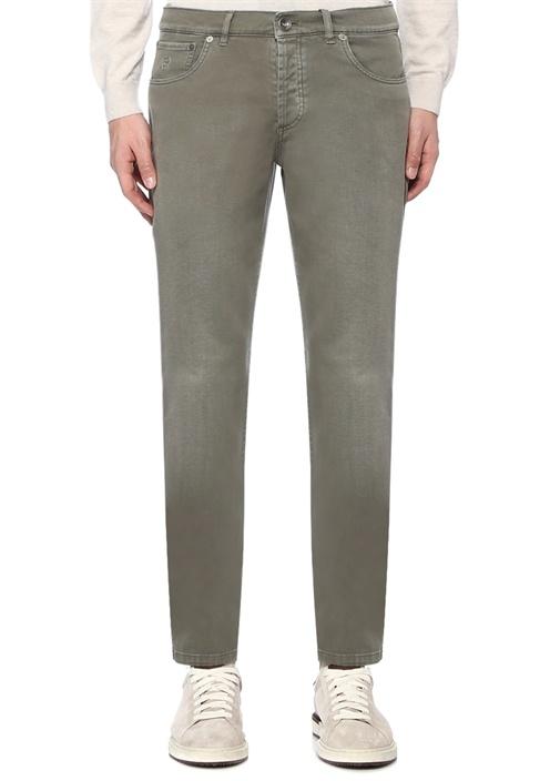 Haki Normal Bel Boru Paça Dokulu Pantolon