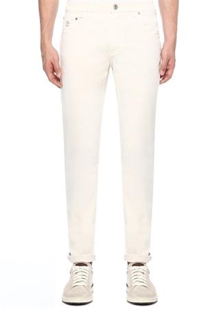 Beyaz Normal Bel Düğmeli Dar Paça Pantolon