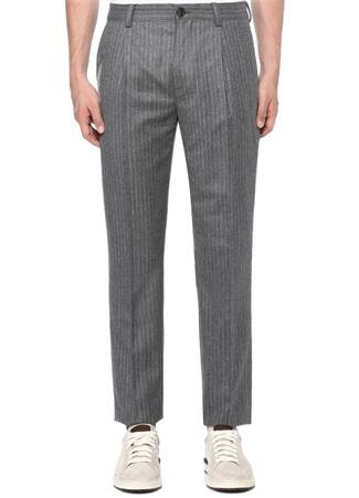 Gri Normal Bel Çizgi Desenli Dar Paça Yün Pantolon