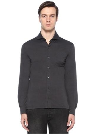Isaia Erkek Koyu Gri Kesik Yaka Gömlek XL Ürün Resmi
