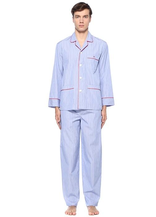 Maci Çizgili Biye Detaylı Pijama Takımı
