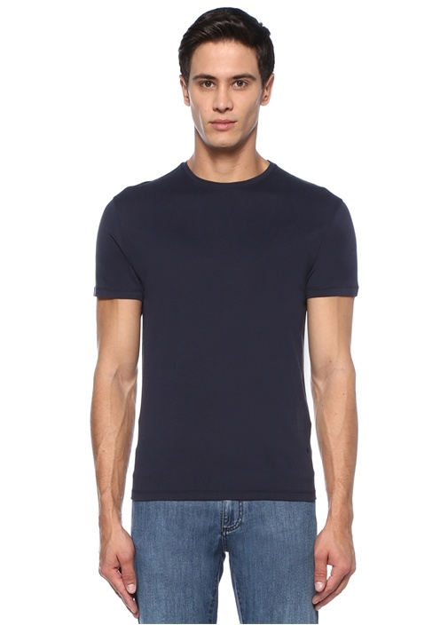 Lacivert Basic İpek T-shirt