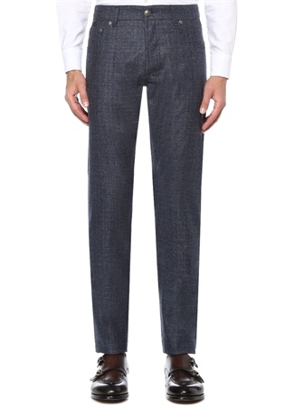 Isaia Erkek Slim Fit Mavi Dar Paça Yün Pantolon 56 I (IALY) Ürün Resmi