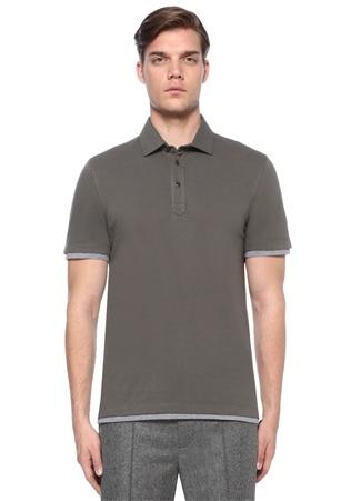 Brunello Cucinelli Erkek Slim Fit Haki Polo Yaka Kol Detaylı -shirt Yeşil M Ürün Resmi