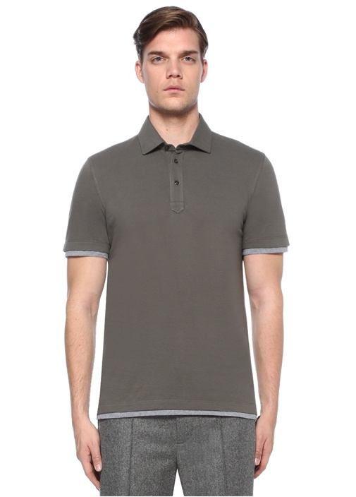 Slim Fit Haki Polo Yaka Kol Detaylı T-shirt