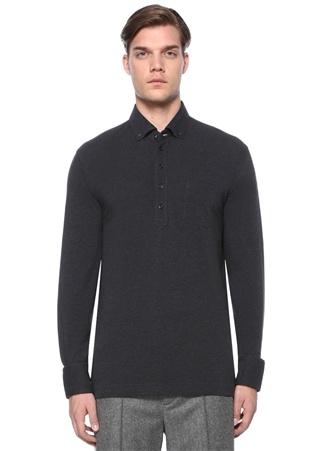 Brunello Cucinelli Erkek Regular Fit Antrasit Polo Yaka Dokulu Sweatshirt Gri 50 I (IALY) Ürün Resmi