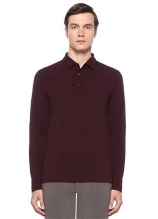 Erkek Bordo Pike Dokulu Polo Yaka Uzun Kollu T-shirt XXXL EU