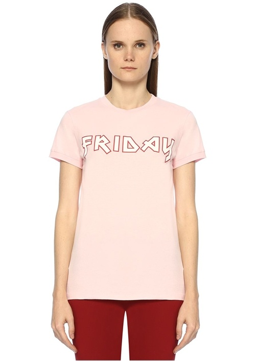 Lani Pembe Friday Baskılı T-shirt