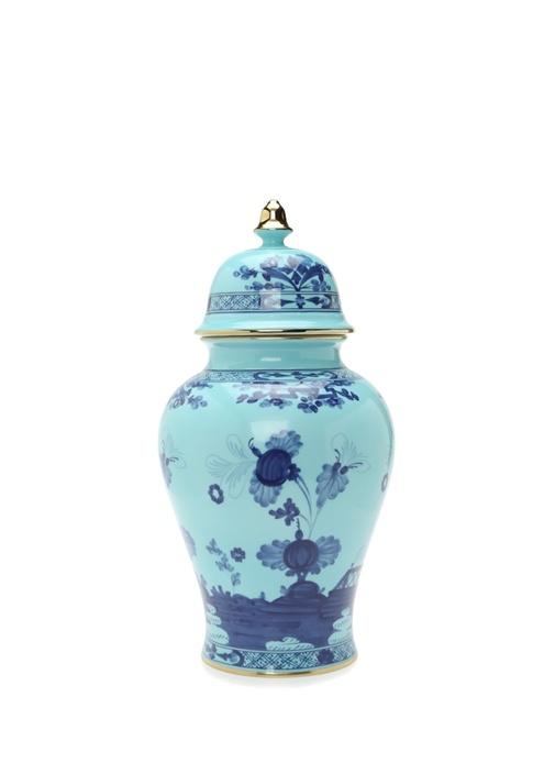 Oriente Iris Mavi Motifli Porselen Vazo