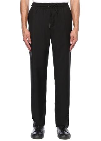Siyah Fermuar Detaylı Yün Pantolon