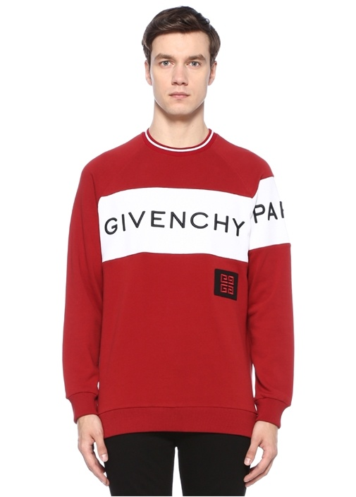 Slim Fit Kırmızı Bisiklet Yaka Logolu Sweatshirt