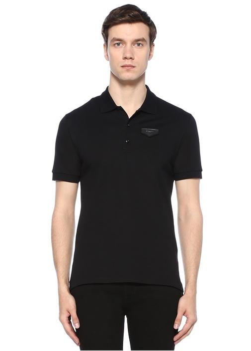 Siyah Polo Yaka Düğme Kapatmalı Logolu T-shirt