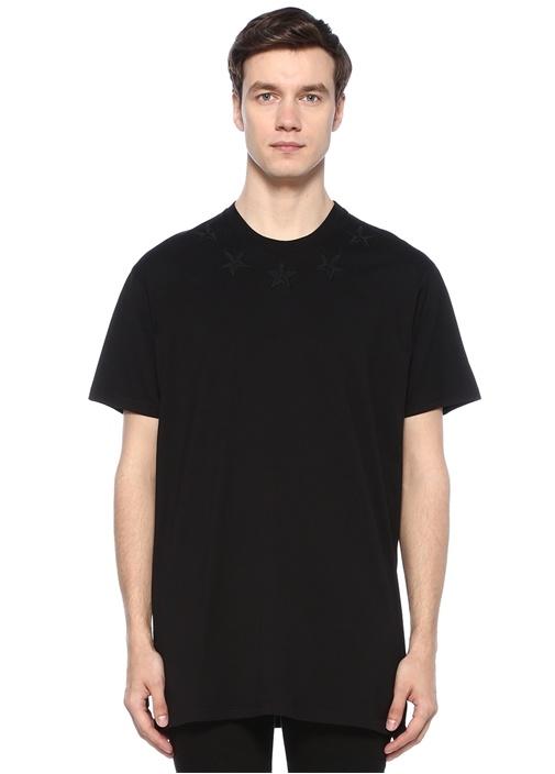 Oversized Fit Siyah Bisiklet Yaka Yıldızlı T-shirt
