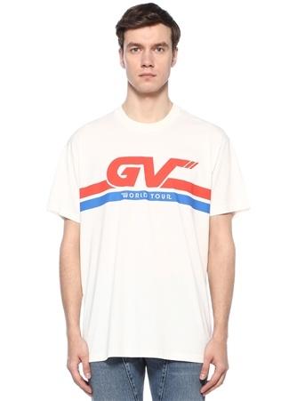 Oversized Fit Beyaz Bisiklet Yaka Baskılı T-shirt