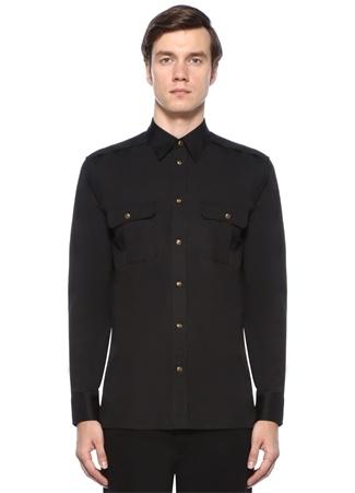 Siyah İngiliz Yaka Logo Detaylı Gömlek
