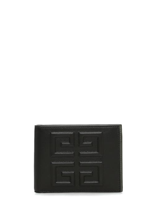 Siyah Logo Kabartmalı Erkek Deri Cüzdan