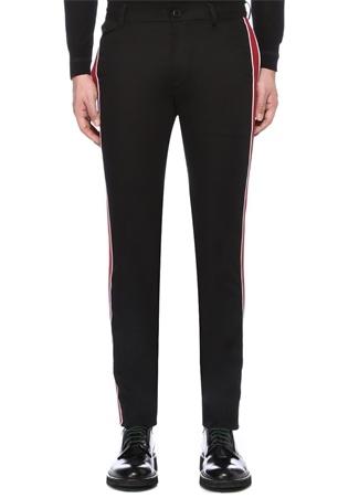 Siyah Kırmızı Yanları Şerit Detaylı Pantolon