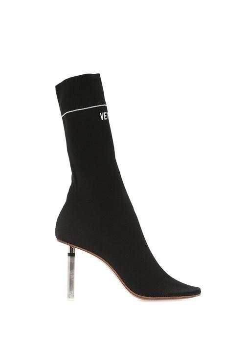 Siyah Topuk Detaylı Çorap Formlu Kadın Bot