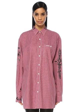 Vetements Kadın Kırmızı Ekoseli Baskılı Cepli Uzun Gömlek XS Ürün Resmi