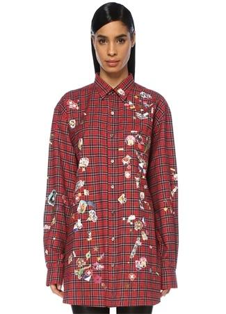 Kadın Kırmızı Ekoseli Sticker Baskılı Oversize Gömlek XS EU