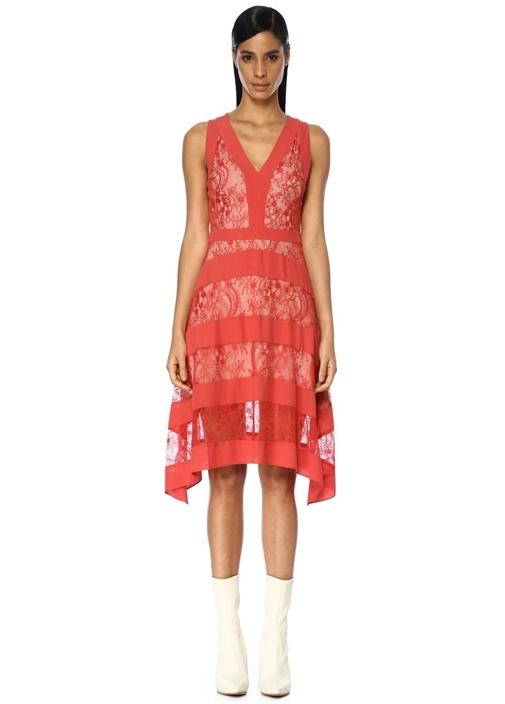 Gwen Kırmızı V Yaka Dantelli Midi Elbise