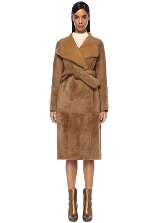 Yves Salomon Kadın Kahverengi Çift Taraflı Shearling Palto Bej 36 FR