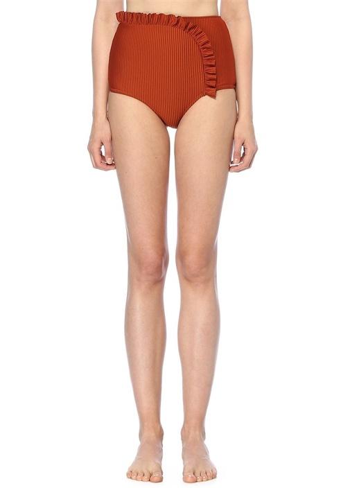 Arc Kiremit Yüksek Bel Fırfırlı Bikini Altı