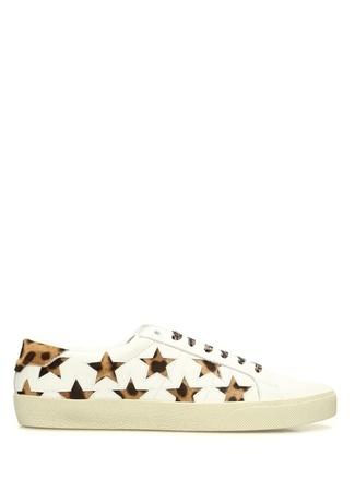 Saint Laurent Kadın Beyaz Yıldızlı Leopar Desenli Deri Sneaker 39.5 R