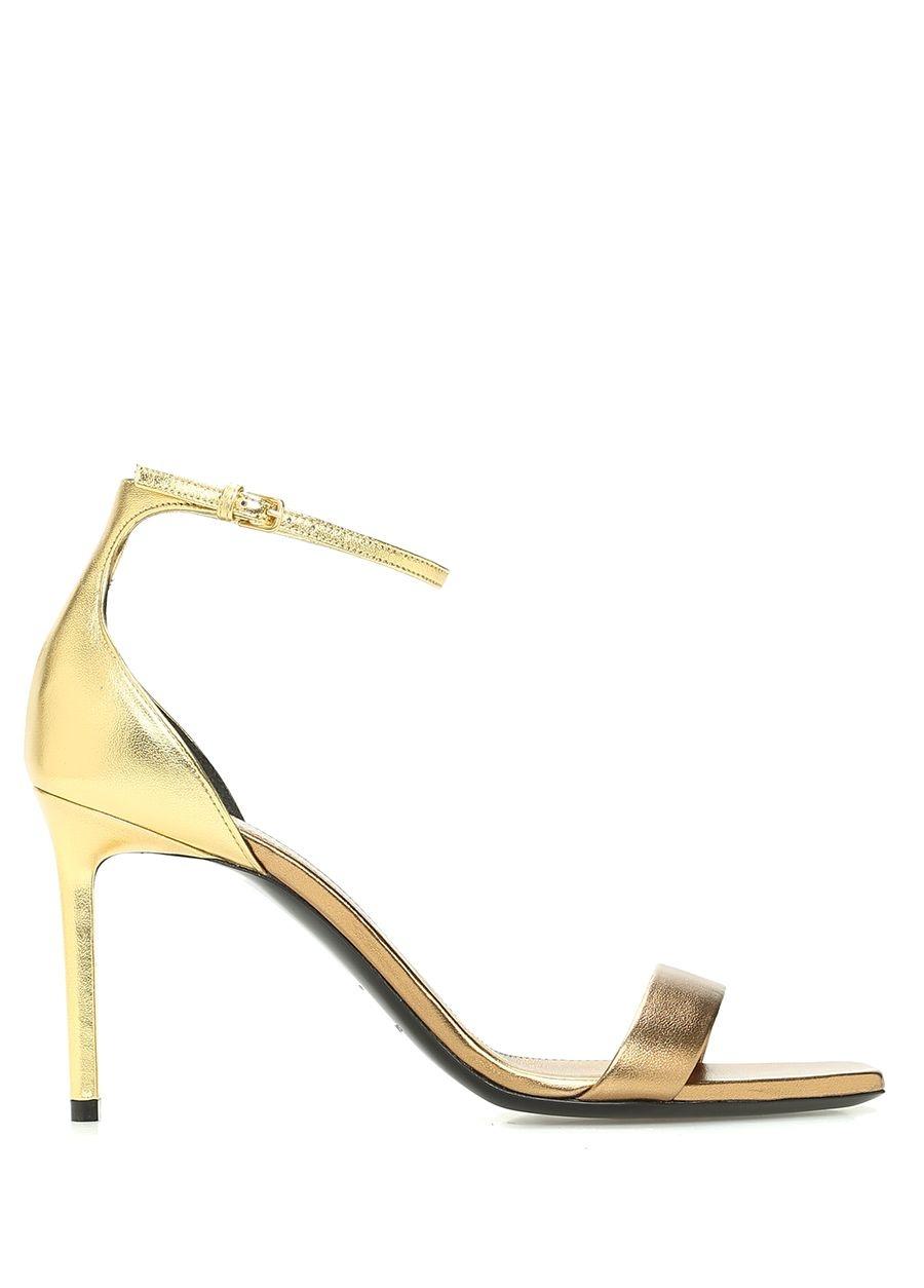 Saint Laurent  Amber 85 Gold Kadın Deri Sandalet