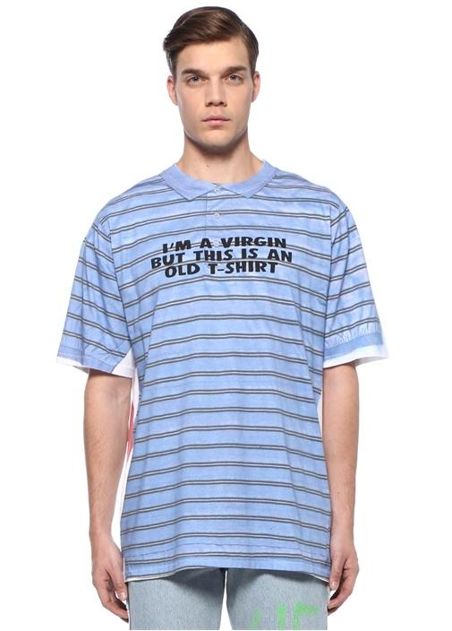 Mavi Yazı Baskılı Gömlek Görünümlü T-shirt