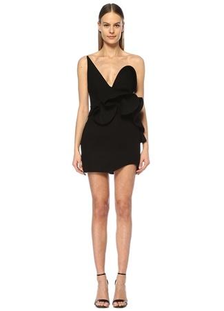 fa8f589df3553 38 female Siyah Saint Laurent Kadın Straplez Volanlı Mini Abiye Yün Elbise  IT