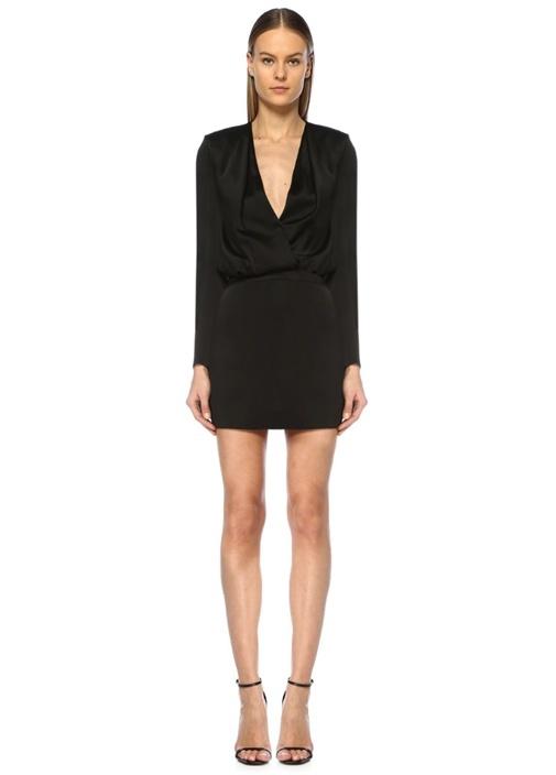Siyah Derin V Yaka Drapeli Uzun Kol Mini Elbise