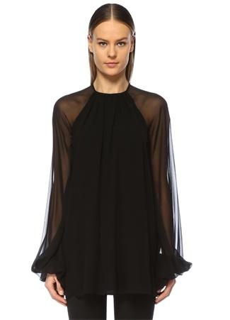 eae538106b80c 36 female Siyah Saint Laurent Kadın Geniş Balon Kol Mini İpek Elbise IT