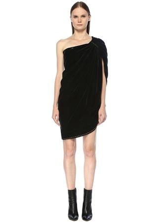 d6686e37578c1 36 female Yeşil Saint Laurent Kadın Koyu Tek Omuzlu Troklu Mini Kadife  Elbise IT