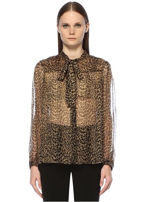Leopar Desenli Yakası Bağcıklı İpek Gömlek