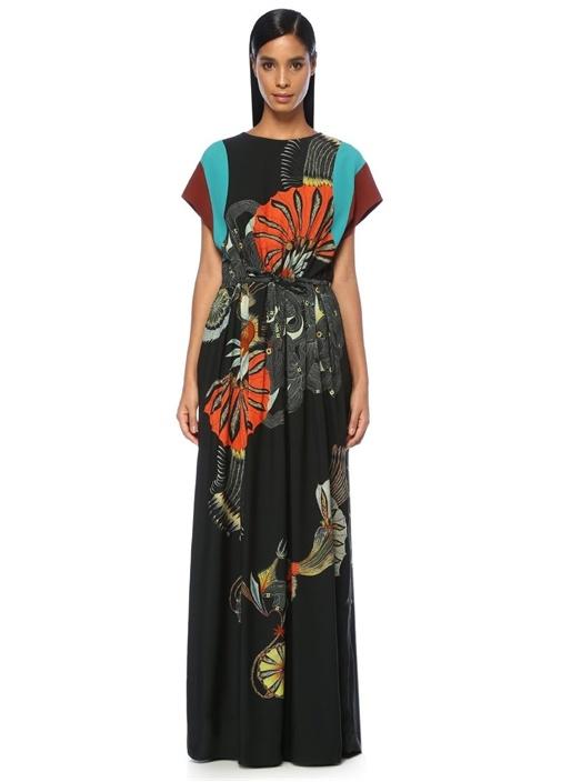 Dometti Siyah Çiçekli Sırt Dekolteli Maksi Elbise