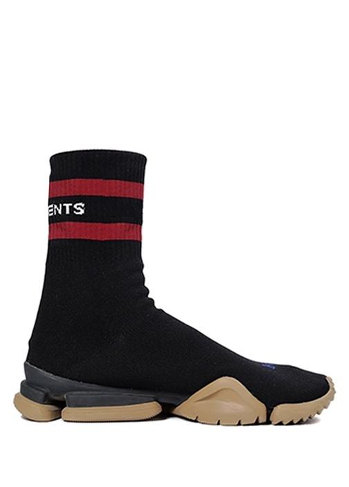 Siyah Logolu Çorap Formlu Erkek Streç Sneaker