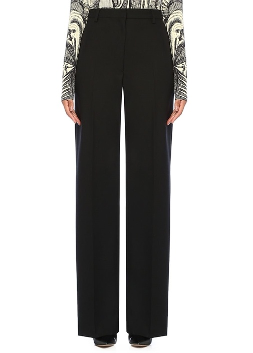 Poline Siyah Yüksek Bel Boru Paça Yün Pantolon